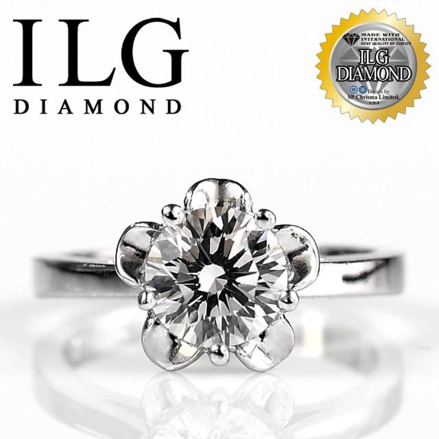 【美國ILG鑽飾】頂級八心八箭擬真鑽石戒指-莉絲安花朵款 RI046 主鑽約1克拉 美麗花型鑽戒(新年)