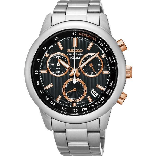 【SEIKO】精工CS系列 突擊隊計時碼錶-黑x玫塊金/42mm(8T68-00A0P SSB215P1)