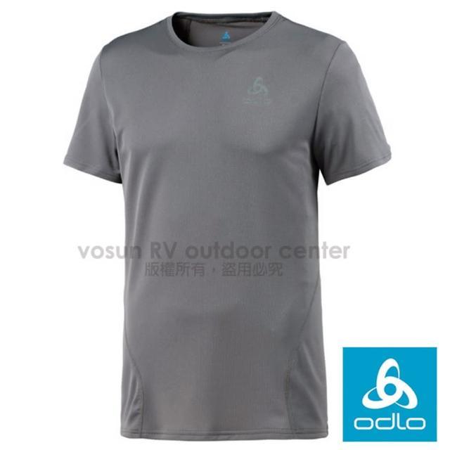 【瑞士 ODLO】男款 輕量套頭短袖圓領T恤.彈性透氣運動衫.吸濕排汗衣.快乾.反光(鋼鐵灰 349042-10352)