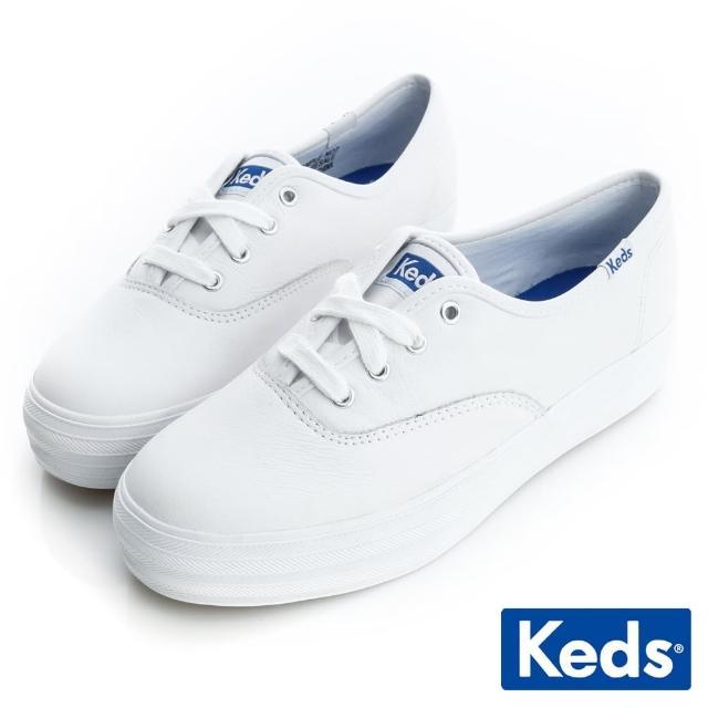 【Keds】品牌經典厚底皮質綁帶休閒鞋(白)
