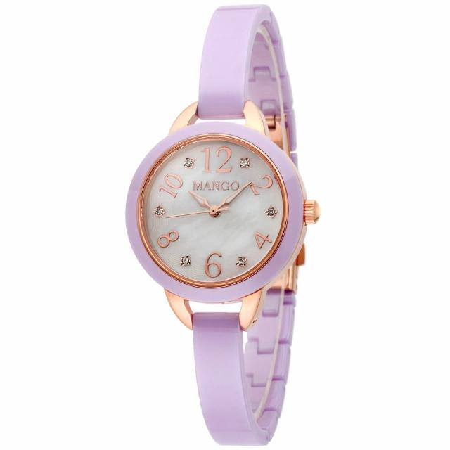 【MANGO】俏麗柔和晶鑽陶瓷時尚腕錶(白x薰衣草紫/25mm)