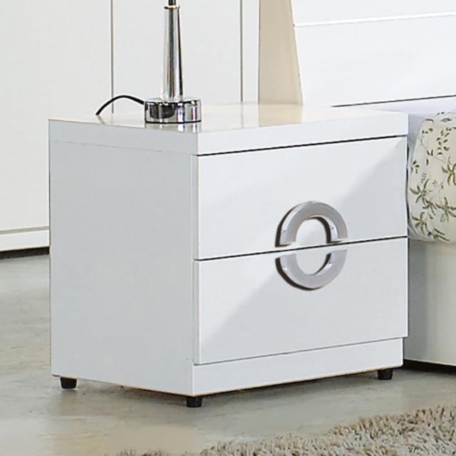 【AT HOME】凱倫白色二抽收納櫃/床頭櫃
