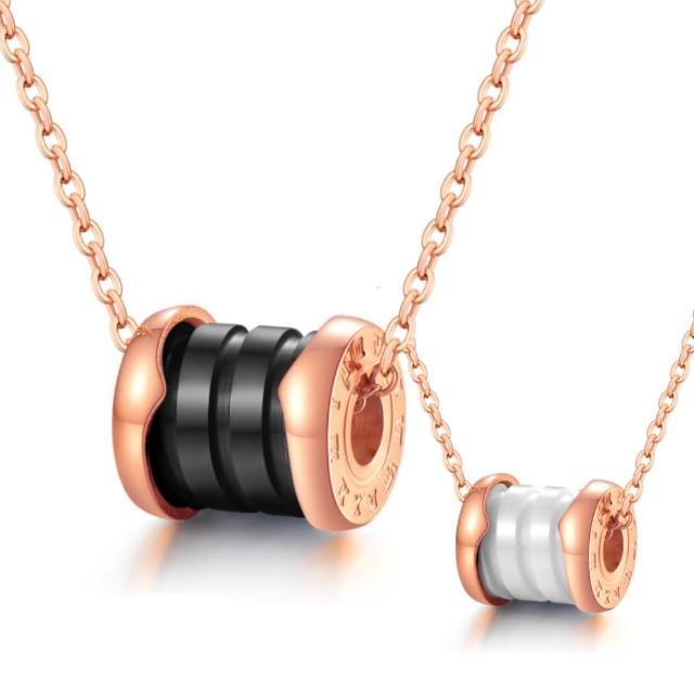 【I-Shine】西德鋼-時尚陶瓷-羅馬數字經典陶瓷玫瑰金鈦鋼項鍊(2色)
