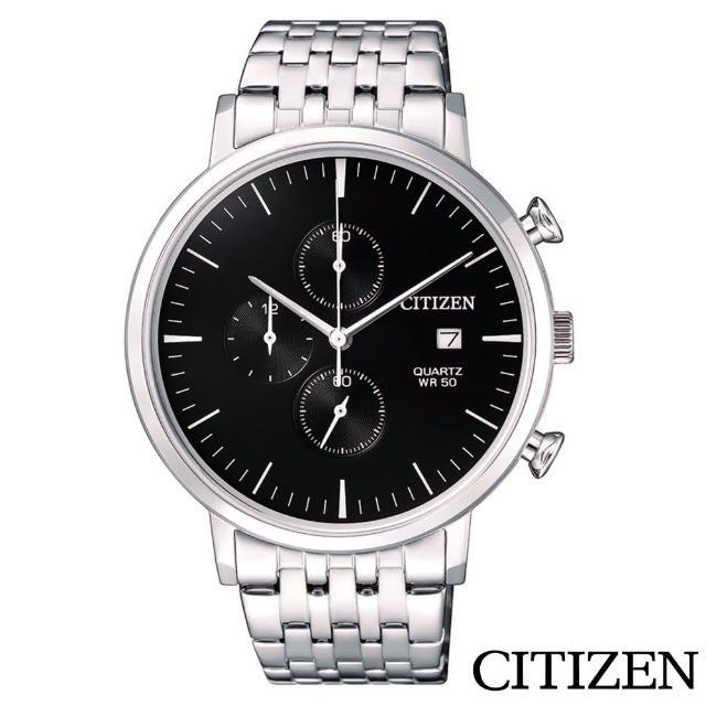 【CITIZEN 星辰】都會潮流風尚三眼計時石英腕錶(AN3610-55E)