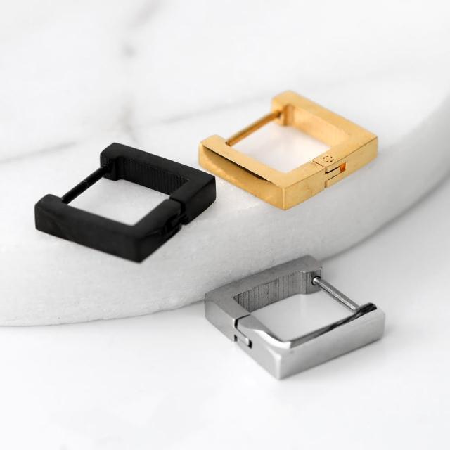 【玖飾時尚】幾何方型鋼製耳針耳環(耳針)