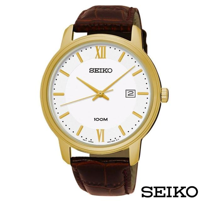 【SEIKO 精工】簡約風尚壓紋皮帶石英腕錶(SUR226P1)