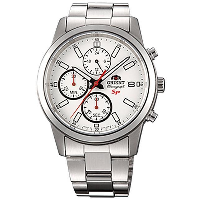 【ORIENT 東方錶】SP系列 透徹時光三眼計時運動石英腕錶鋼帶-白x42mm(FKU00003W0)