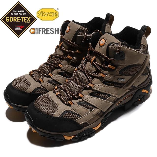 【MERRELL】戶外鞋 Moab 2 Mid GTX 登山 男鞋 越野 寬楦 舒適 防水 透氣 抗菌防臭 棕 黑(ML06057W)