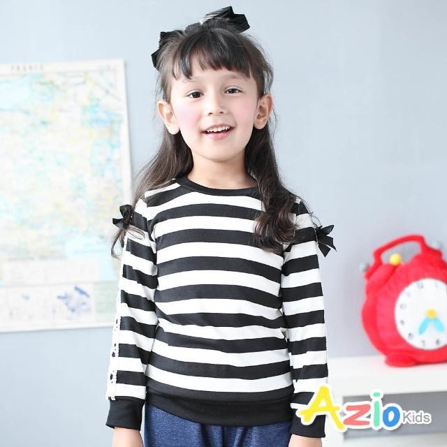 【Azio Kids 美國派】女童 上衣 氣質蕾絲蝴蝶結緞帶袖條紋圓領長袖T恤(黑)