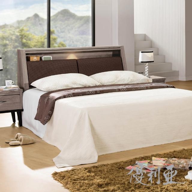 【優利亞】古橡木經典 雙人五尺照明床組(床頭箱+床底)