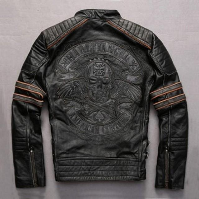 【米蘭精品】男真皮皮衣牛皮夾克(短款做舊骷髏頭壓紋立領男機車外套72ae46)