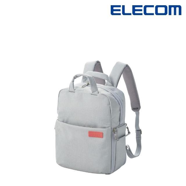 【ELECOM】帆布多功能後背包S042(杏仁白)