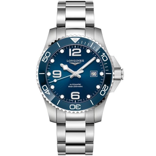 【LONGINES 浪琴】深海征服者浪鬼陶瓷潛水機械錶-藍x銀/43mm(L37824966)