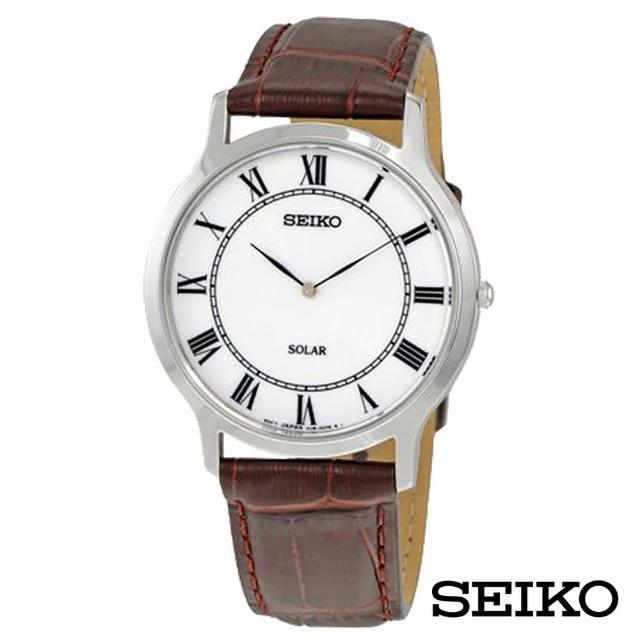 【SEIKO 精工】大收藏家羅馬時標太陽能男士手錶(SUP869P1)