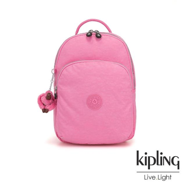 【KIPLING】甜美糖果粉雙層拉鍊後背包-SEOUL AIR S