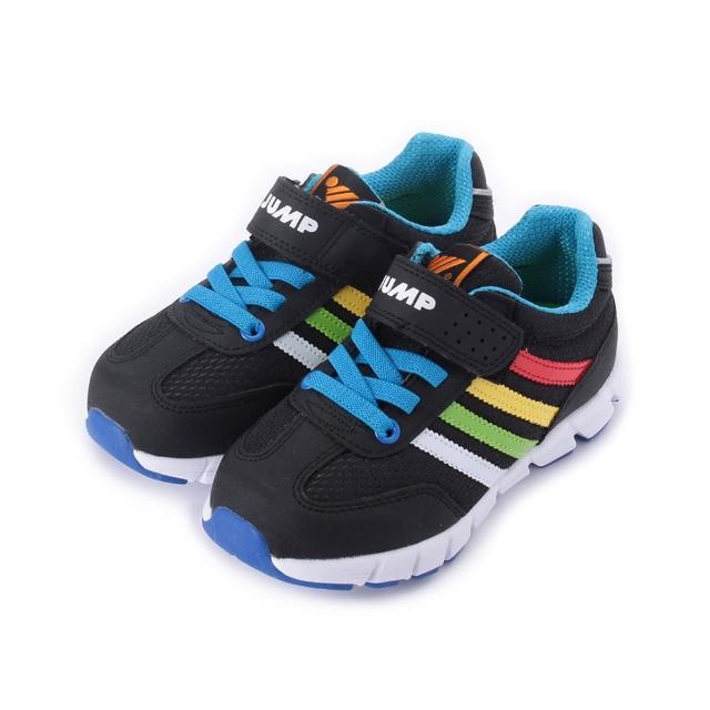 【JUMP】17-22.5cm 中大童鞋 輕量魔鬼氈運動鞋 黑 鞋全家福(JP196)