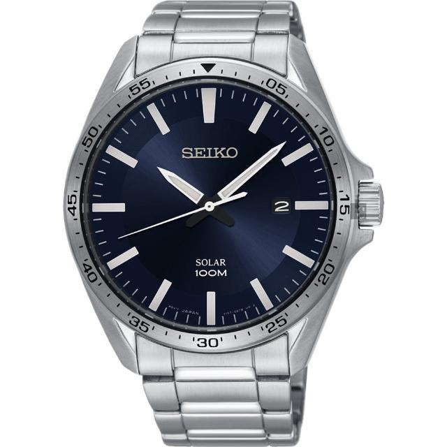 【SEIKO 精工】SOLAR 太陽能潮流手錶-深藍x銀/42mm(V157-0CP0B SNE483P1)