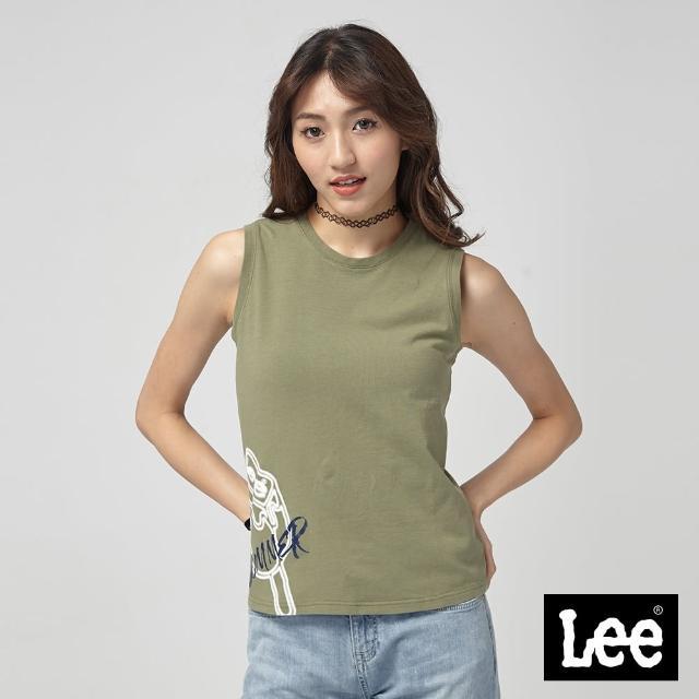 【Lee】Lee 無袖冰棒印花背心/RG-0-墨綠(墨綠)