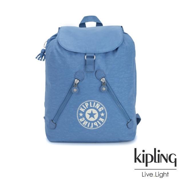 【KIPLING】致敬經典復古天藍色抽繩束口後背包-FUNDAMENTAL NC