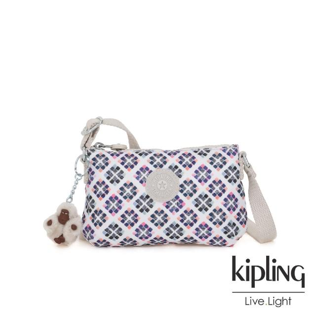 【KIPLING】復古花磚長形拉鍊側背包-MELY