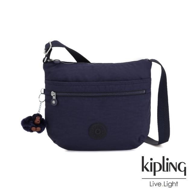 【KIPLING】復古歐風墨水藍前拉鍊側背包-ARTO