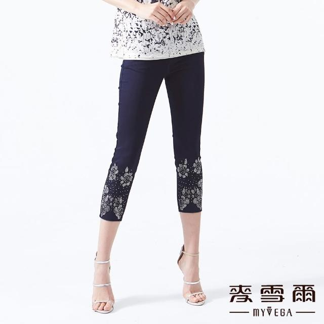 【MYVEGA 麥雪爾】棉質花朵鑽飾造型牛仔八分褲