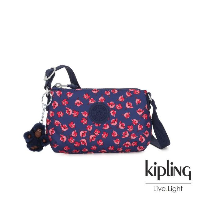【KIPLING】古典茜紅小花長形拉鍊側背包-MELY
