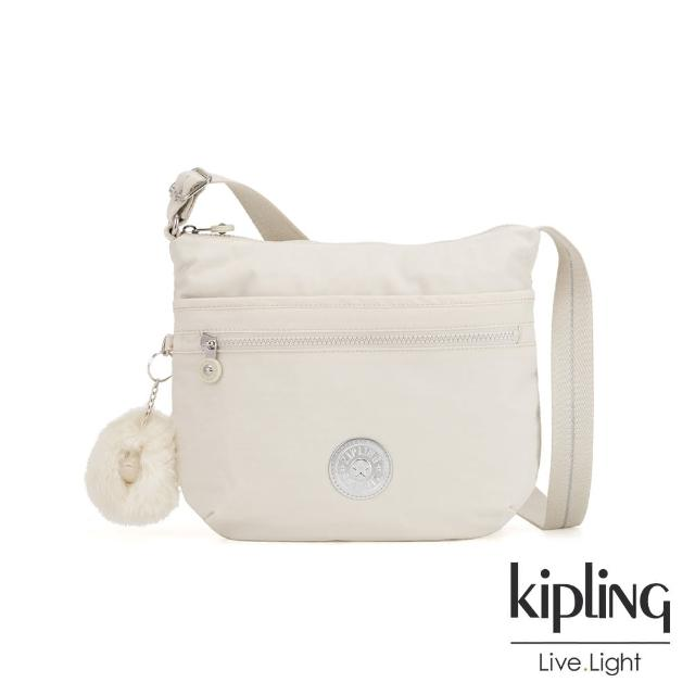 【KIPLING】優雅米白前拉鍊側背包-ARTO