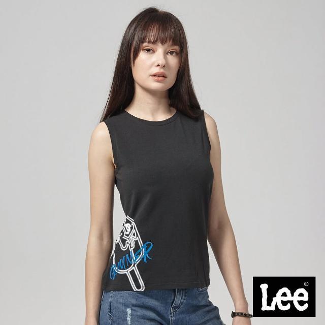 【Lee】Lee 無袖冰棒印花背心/RG(黑)