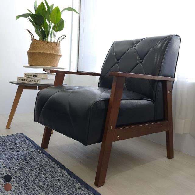 【BN-Home】William威廉美式復古皮沙發升級版-獨立筒單人座(單人沙發/休閒椅/實木沙發)