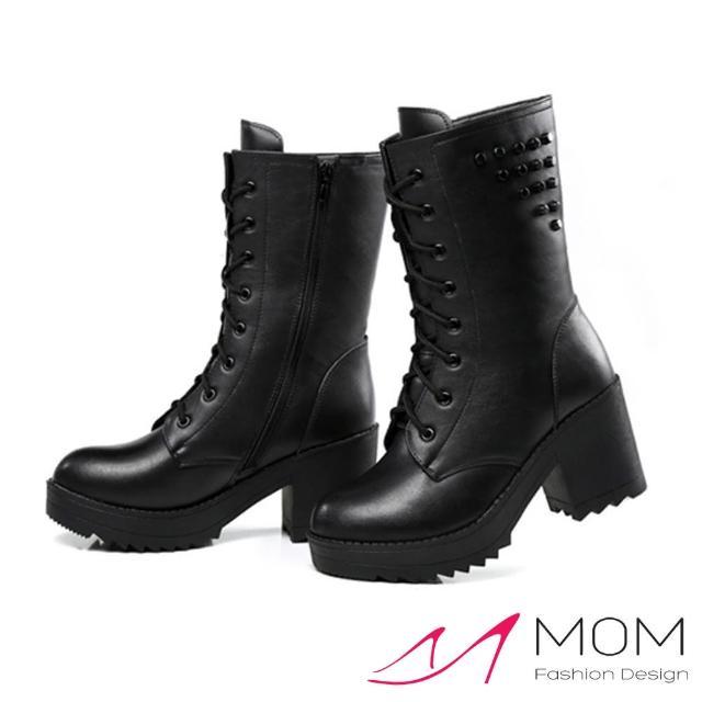 【MOM】個性鉚釘綁帶真皮馬丁靴 機車靴(黑)