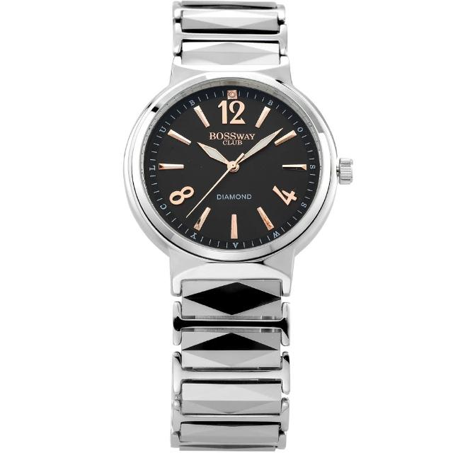 【BOSSWAY】簡約風格時尚鑽錶(黑-白-藍面-39.5mm)