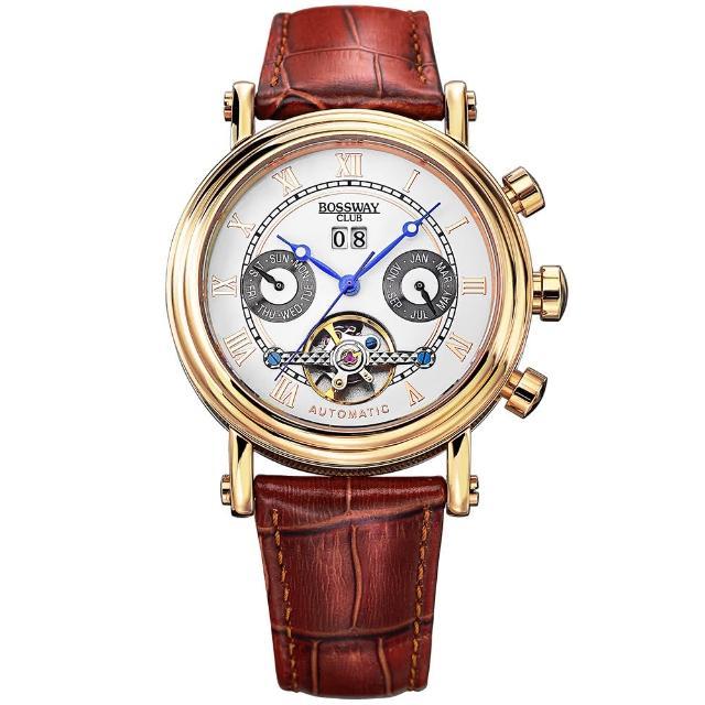 【BOSSWAY】休閒首選多功能機械錶(白-45mm)