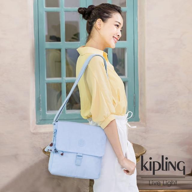 【KIPLING】棉花糖藍掀蓋方型側背包-COLBY