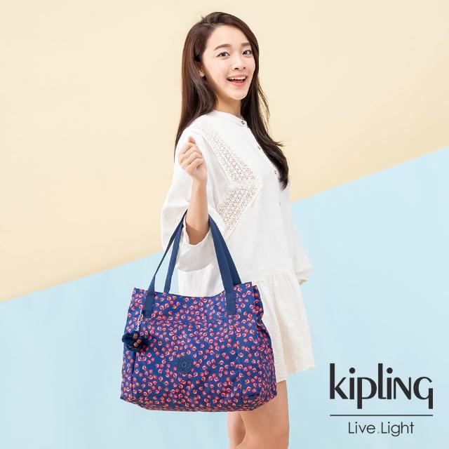 【KIPLING】古典茜紅小花梯形手提肩背包-PRAVIA