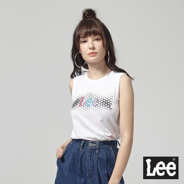 【Lee】背心 數位幾何透視logo印刷 白 女(背心)
