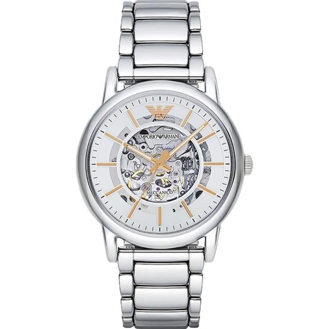 【EMPORIO ARMANI】爵士魅力鏤空設計機械錶(AR1980)