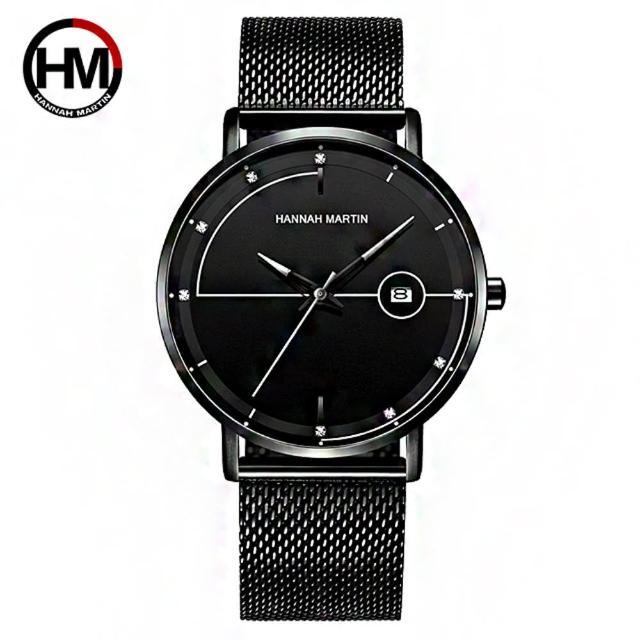 【HANNAH MARTIN】領航之星鑲鑽刻度設計米蘭帶男錶-灰指針/40mm(HM-10101-BK)