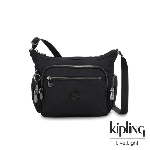 【KIPLING】極致低調黑多袋實用側背包-GABBIE S
