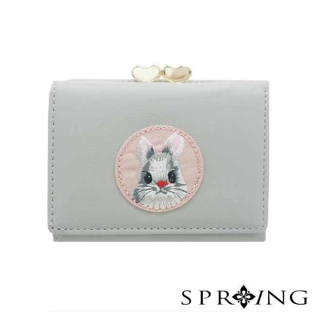 【SPRING】甜萌愛心扣刺繡兔兔短夾(氣質灰)
