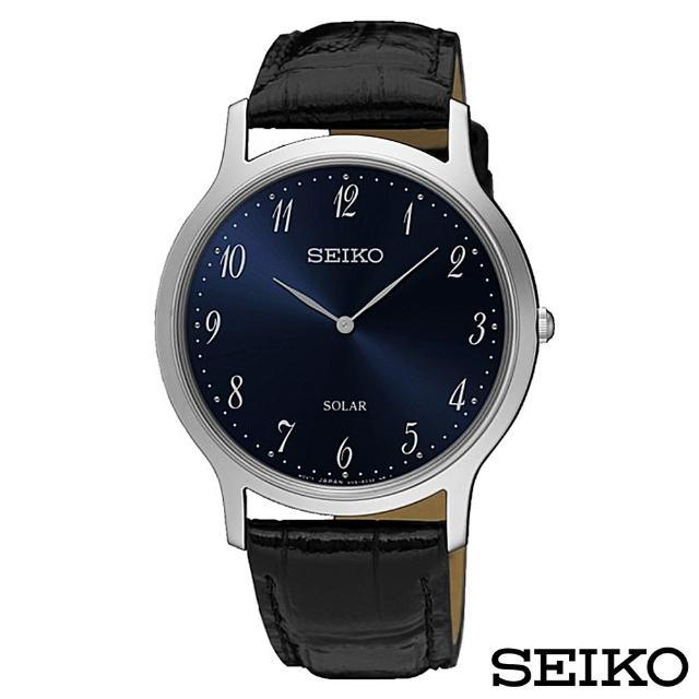 【SEIKO 精工】簡約爾雅超薄太陽能石英腕錶(SUP861P1)