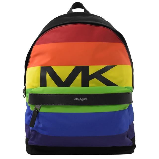 【Michael Kors】KENT 超輕系彩虹條紋尼龍皮飾邊後背包