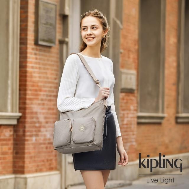 【KIPLING】清新甜美杏粉色多收納拉鍊斜側背包-EIRENE