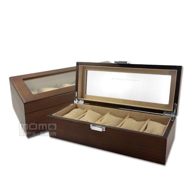 【手錶收藏盒】手錶收藏盒 配件收納 腕錶收藏盒 斑馬木紋 5入收藏  實木質感 - 紅棕色(815-5W-03-ZEBRA)