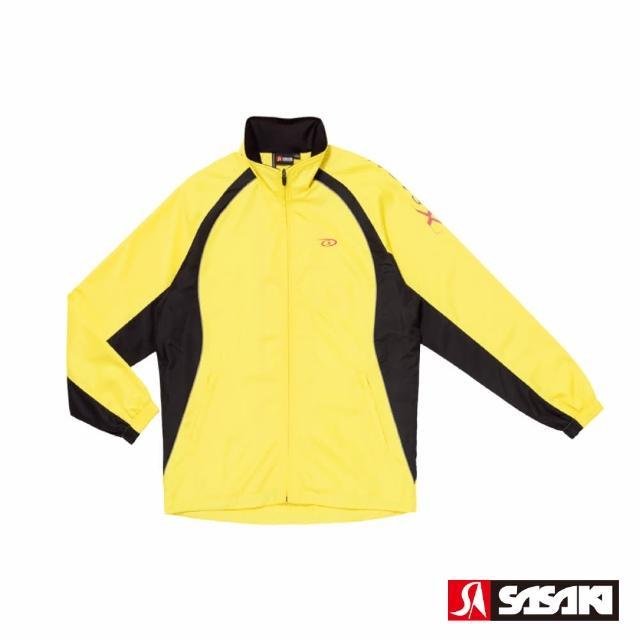 【SASAKI】夜間反光功能透氣式平織運動夾克-男-巴西黃/黑/亮桃紅