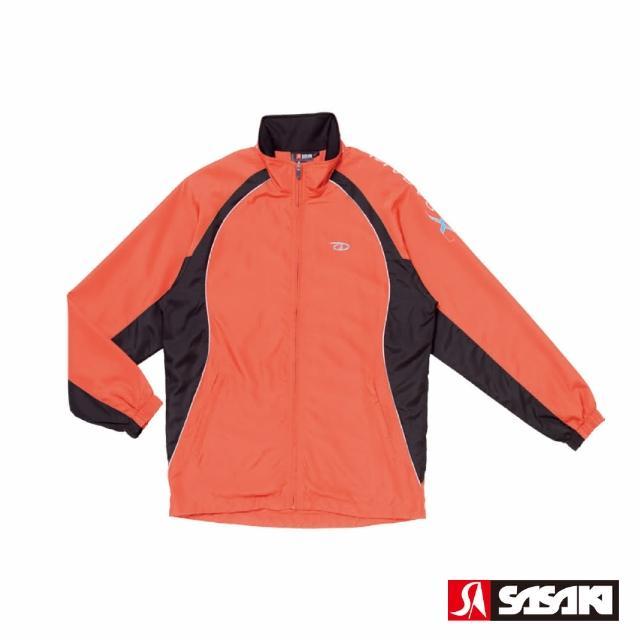 【SASAKI】夜間反光功能透氣式平織運動夾克-男-桔紅/黑/鮮藍