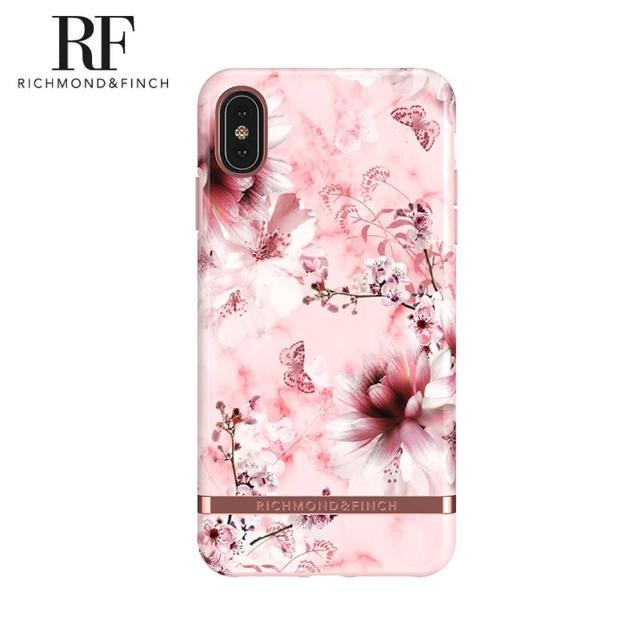 【Richmond&Finch】瑞典手機殼 玫瑰金線框 -粉色大理石紋櫻花(iPhone X/Xs)