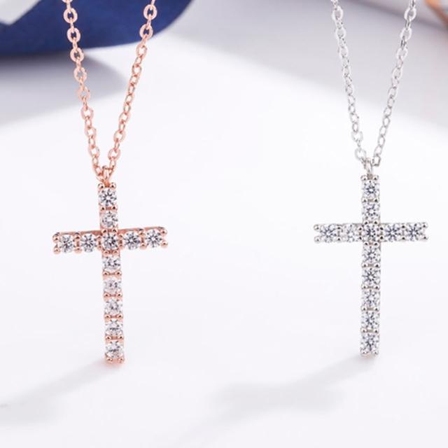 【Angel】925銀十字架千誠信仰鋯石項鍊(2色可選)