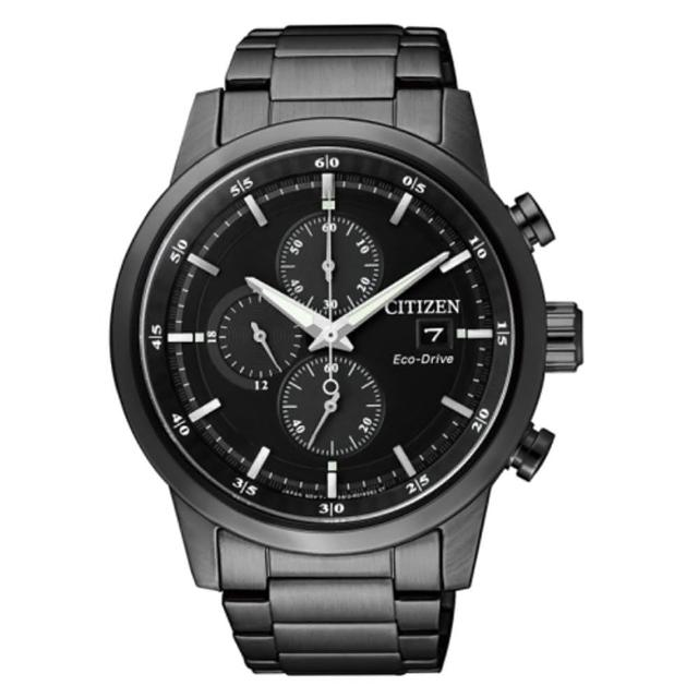 【CITIZEN 星辰】簡約質感光動能時尚腕錶(黑鋼/CA0615-59E)