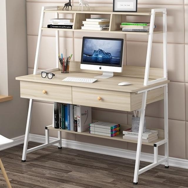 【H&C 100cm雙抽屜書架桌】雙抽屜大桌面/雙層置物/書架/強化鋼架(電腦桌/辦公桌/書桌/桌子/兒童桌/工作桌)
